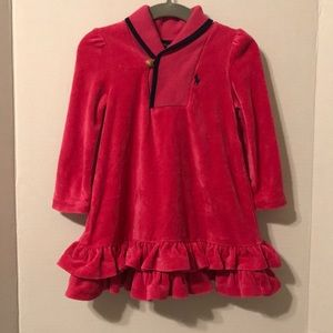 Ralph Lauren Pink Velour Dress w/Navy trim